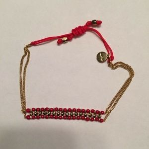 """NEW  Stella & Dot Gold Tone with red Bracelet 8"""""""